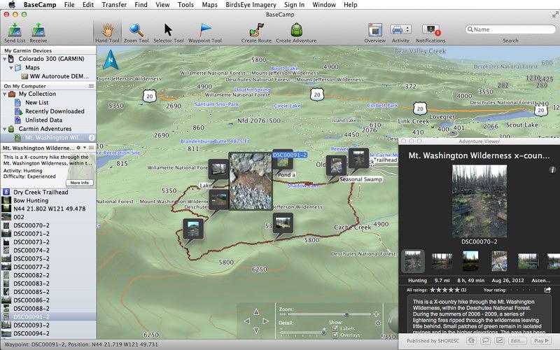 Aplicación Basecamp para rutas de montaña